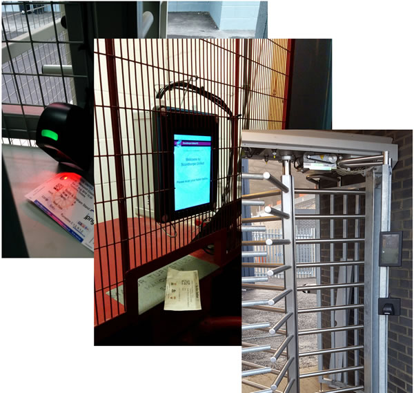 Photos of VMS Access in use at various clubs' turnstiles
