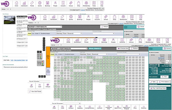 Example of VMS screens which staff use to select tickets